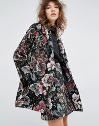Essentiel Antwerp Mafalda Tapestry Coat Black Multi