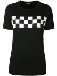 Dsquared2 Checkered T Shirt Women Cotton M Black