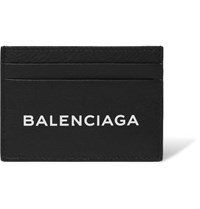 Balenciaga Logo Print Textured Leather Cardholder Black