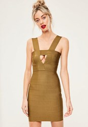 Missguided Green Bandage Cut Out Bodycon Dress Olive
