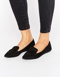 Call It Spring Unoille Cut Out Point Flat Shoes Black Nubuck
