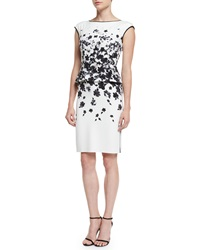 St. John Graphic Floral Degrade Peplum Dress