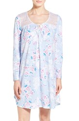 Women's Carole Hochman Designs Lace Inset Long Sleeve Floral Cotton Nightgown Periwinkle Jubilee