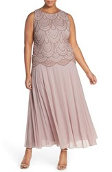 Plus Size Women's Pisarro Nights Beaded Mock Two Piece Gown