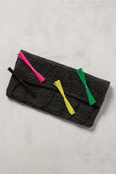 Anthropologie Neon Straw Clutch Black