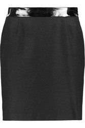 Love Moschino Faux Patent Leather Trimmed Wool Blend Mini Skirt Black