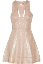 Herve Leger Alina Cutout Metallic Bandage Mini Dress Blush