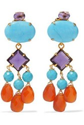 Bounkit Gold Tone Crystal Bead And Stone Earrings Turquoise