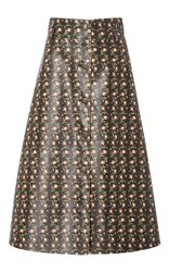 Philosophy Di Lorenzo Serafini Floral Printed Eco Leather Skirt Black
