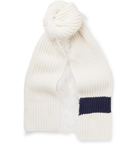 J.W.Anderson Oversized Fringed Chunky Knit Scarf White