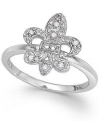 Macy's Diamond Fleur De Lis Ring In Sterling Silver 1 10 Ct. T.W.