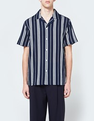 Editions M.R. Tropic Shirt In Striped Navy White T315 Navy White
