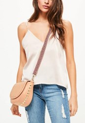 Missguided Nude Studded Guitar Strap Cross Body Bag