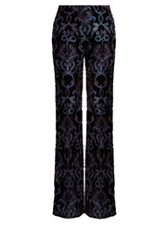 Roberto Cavalli Velvet Monkey And Snake Wide Leg Trousers Blue Multi