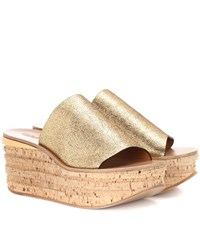 Chloe Camille Cork And Leather Mule Gold