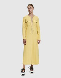 Maryam Nassir Zadeh Loom Lace Up Dress Flaxen