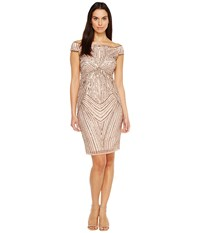 Adrianna Papell Off The Shoulder Swirl Beaded Cocktail Dress Rose Gold Women's Dress