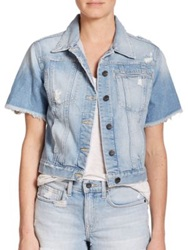 Genetic Los Angeles Blondie Distressed Short Sleeve Denim Jacket Zephyr