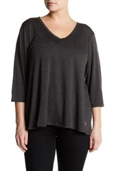 The Balance Collection V Neck 3 4 Sleeve Tee Plus Size Black