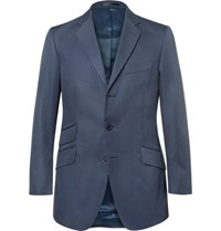 Cordings Blue Slim Fit Cotton Drill Blazer Navy