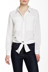 Lavand. Long Sleeve Self Tie Blouse White