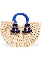 Nannacay Maria Pompom Embellished Woven Raffia Tote Neutral Gbp