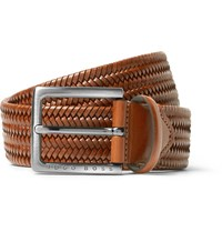 Hugo Boss 3.5Cm Brown Semyo Woven Leather Belt Tan