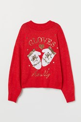 Handm H M Knit Sweater With Sequin Motif Red