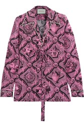 Gucci Faux Pearl Embellished Printed Silk Crepe De Chine Blouse Pink