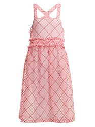 Shrimps Viola Embroidered Cotton Blend Organza Dress Pink