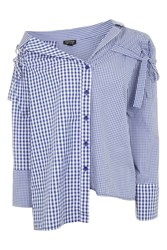Topshop Gingham Re Worked Shirt Blue