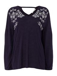Maison De Nimes Embroidered Jersey Top Blue