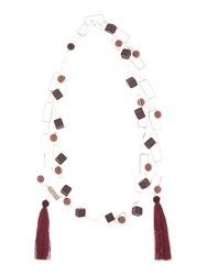 Max Mara Ghisa Gold Square Necklace With Tassle Bordeaux