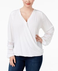 Inc International Concepts Plus Size Surplice Top Only At Macy's Bright White