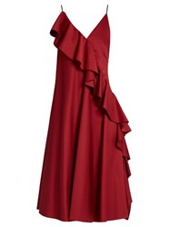 Anna October Asymmetric Ruffled Sleeveless Dress Dark Red