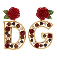 Dolce And Gabbana Gold Dg Rose Earrings
