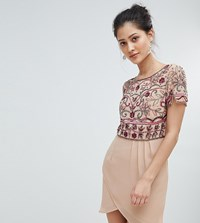 Frock And Frill Wrap Front Mini Dress With Embellishment Pink