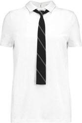 Brunello Cucinelli Tie Front Cotton Jersey T Shirt White