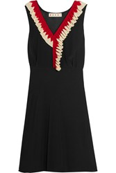Marni Ruffle Trimmed Silk Crepe Dress Black