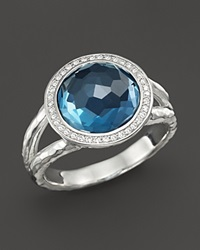 Ippolita Sterling Silver Stella Mini Lollipop Ring In London Blue Topaz With Diamonds Silver Blue