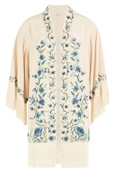 Talitha Embroidered Silk Jacket Beige