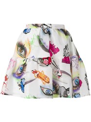 Kenzo Visage Eye Print Mini Skirt White