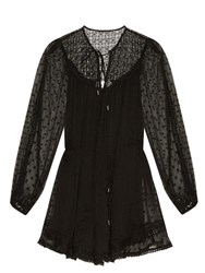 Zimmermann Belle Swiss Dot And Lace Playsuit Black