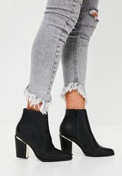 Missguided Black Gold Trim Block Heeled Boots