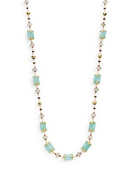 Azaara Semi Precious Multi Stone Rectangular Station Necklace Gold Multi