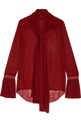 Adam By Adam Lippes Pussy Bow Chiffon Blouse Red