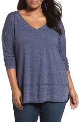 Sejour Plus Size Women's Burnout Tunic Navy Peacoat
