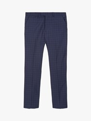 Jaeger Regular Check Wool Suit Trousers Navy