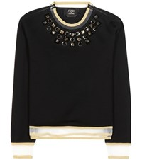 Fendi Embellished Cotton Top Black