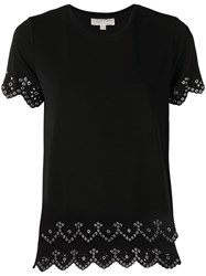 Michael Michael Kors Riveted Open Embroidery Tee Black